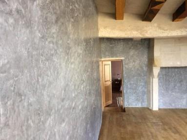 Mur en stuc de marmorino ocre grisé noir de vigne en 4 passes.