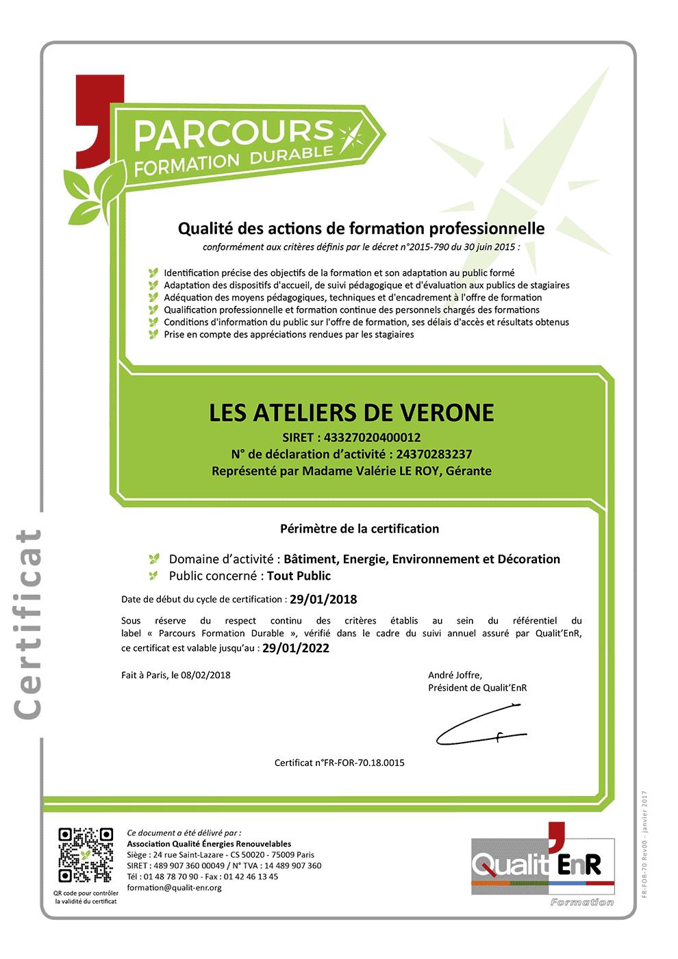 Certificat Label Qualité Parcours Formation Durable chaux et chanvre, tadelakt, béton ciré, badigeon et terre Les Ateliers de Vérone
